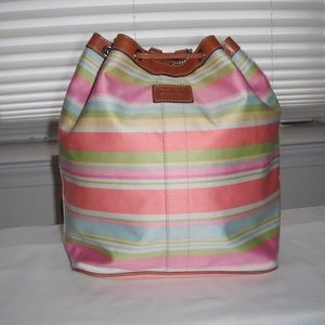 Coach Multicolor Pastel Stripe Backpack